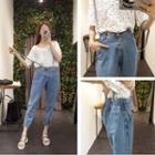 Spaghetti Strap Cropped Jeans