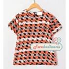 Short-sleeve Striped Chiffon Top