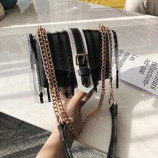 Set Striped Transparent Crossbody Bag + Pouch