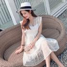 Set: Sleeveless Midi Lace Dress + Tube Top