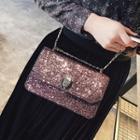 Glittered Chain Strap Crossbody Bag