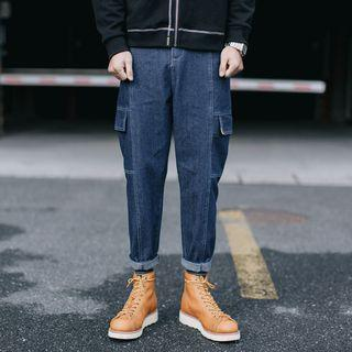 Stitched Straight-cut Cargo Jeans