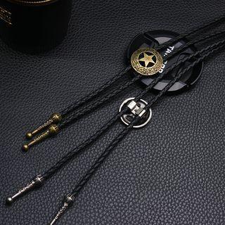 Star Braided Genuine Leather Neck Tie