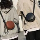 Faux Croc Grain Leather Round Crossbody Bag