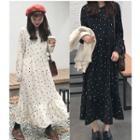 Long-sleeve Dotted Chiffon Midi Dress