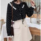 Dotted Lace Trim Shirt