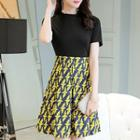 Short-sleeve Bird Print A-line Dress
