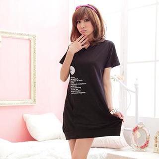 Print Short Sleeve Hooded Dress