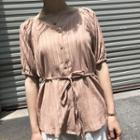 Short-sleeve Chiffon Blouse With Cord