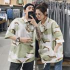 Couple Matching Elbow-sleeve Camouflage Polo Shirt