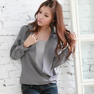 Inset Scoop Neck Long Sleeve Blouse
