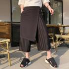 Mock Two-piece Pleated Cropped Pants