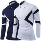 Printed Long Sleeve Polo Shirt