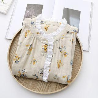 Floral Print Lace Trim Long-sleeve Shirt Yellow - One Size