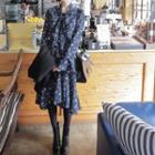 Bell-sleeve Floral Midi Dress