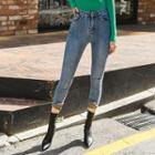 Leopard-cuff Skinny Jeans