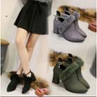 Furry Trim Ankle Strap Ankle Boots