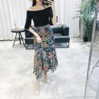 Set: Off-shoulder Elbow-sleeve Top + Printed Midi Chiffon Skirt