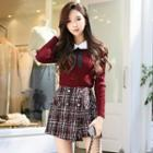 Long-sleeve Frilled Collared Knit Top