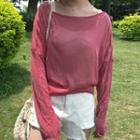 Tie-hem Long-sleeve Knit Top