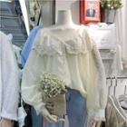 Lace Trim Dobby Blouse