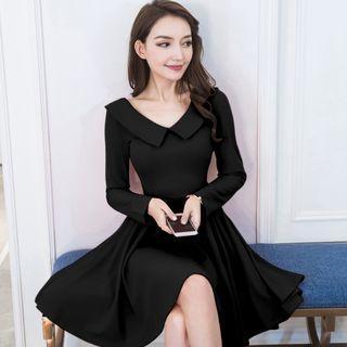 Plain Collared Long Sleeve A-line Dress
