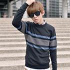Striped-trim Knit Sweater