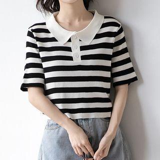 Short-sleeve Striped Polo Shirt Black - M