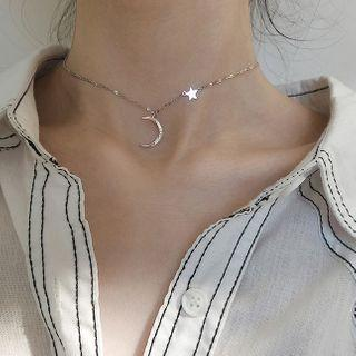 925 Sterling Silver Moon & Star Pendant Choker S925 Silver - Silver - One Size