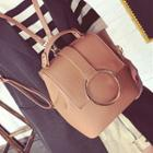 Metal Ring Faux-leather Backpack