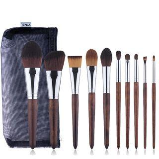 Set Of 10: Makeup Brush Set Of 10: Brown - One Size
