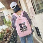 Sequined Cat Canvas Backpack