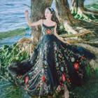 Spaghetti Strap Floral Embroidery Maxi Dress