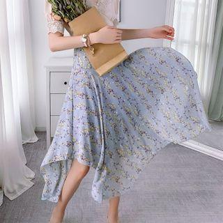 Irregular Hem Flower Print Midi A-line Skirt