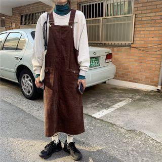 Corduroy Midi Jumper Dress Coffee - One Size