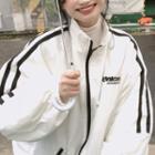 Mock Neck Striped Zip Jacket