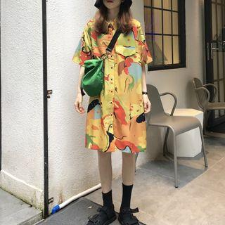 Short-sleeve Printed Shirtdress As Shown In Figure - One Size
