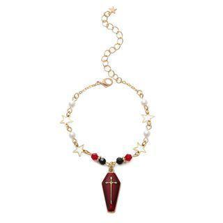 Halloween Coffin Pendant Bead Bracelet Gold - One Size