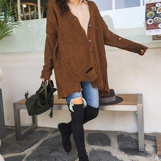 Buttoned Distressed Loose-fit Cardigan
