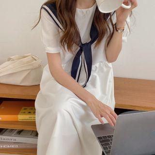 Set: Short-sleeve Plain Midi A-line Dress + Shawl