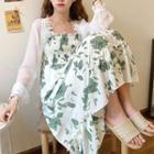 Lace Trim Light Jacket / Spaghetti Strap Maxi Floral Dress