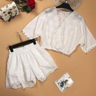 Set: Lace Trim Short Sleeve Top + Wide Leg Shorts