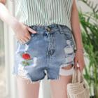 Distressed Flower Embroidered Denim Shorts