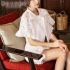 Ruffled Tie-neck Lace Blouse