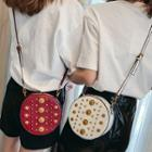 Studded Round Faux Leather Crossbody Bag