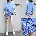 Batwing-sleeve Butterfly Embroidered Blouse