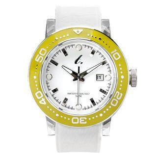 Stainless Steel Water Resistant Watch - White/yellow