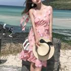 Flower Print Shoulder-tie Chiffon Dress