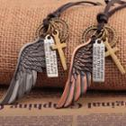 Single-wing Cross Leather Necklace