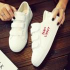 Paneled Embroidered Velcro Sneakers